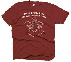 Jesus fantasy football t-shirt funny shirts mens t shirts novelty adult clothing great gift ideas Jesus Funny, Fantasy Team, Fantasy Football, Funny Tees, Mens Tops, T Shirt, Gift Ideas, Clothing, Women