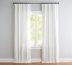 Emery Linen/Cotton Rod Pocket Blackout Curtain - White   Pottery Barn