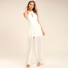 007b8aa839b Fashion Dress Women Casual Loose Solid White Sleeveless Elegant Halter Cut  Out Lace Split Maxi Dress. women fashion street shirts blouses bandage  dresses ...