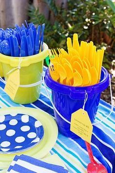 """pick a color scheme and tell everyone involved to STICK TO IT. blue and yellow """"theme"""". beach party or blue and orange since that is on our logo."""