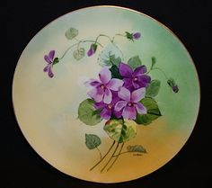 """Stouffer Studio Decorated ~ Limoges Porcelain Cabinet Plate ~ Hand Painted by """"Pfohl"""" ~ Purple Violets ~ Haviland France  / Stouffer Studio ~ 1906-1914"""