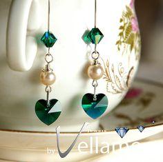 Earrings with emerald green AB Swarovski crystal by byVellamo, $25.00