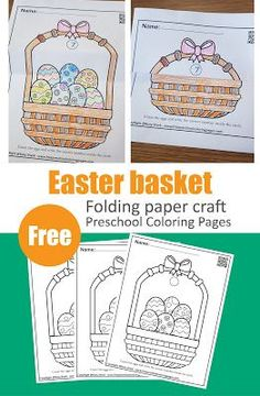 Easter basket folding paper craft Rainy Day Activities For Kids, Counting For Kids, Seasons Activities, Activities For 2 Year Olds, Spring Activities, Preschool Coloring Pages, Free Printable Coloring Pages, Coloring Pages For Kids, Free Printables