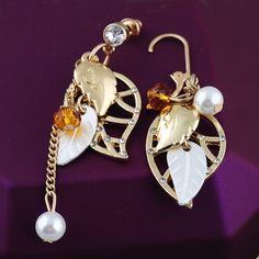 Brincos 새로 고급 보석 귀걸이 황금 큰 잎 크리스탈 라인 석 드롭 긴 귀걸이 여성 고급 보석