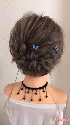 Hairdo For Long Hair, Bun Hairstyles For Long Hair, Easy Updos For Medium Hair, Medium Hair Styles, Curly Hair Styles, Hair Upstyles, Hair Videos, Hair Hacks, Bridal Hair