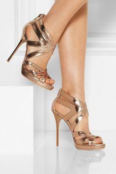 Golden strappy high heel sandals