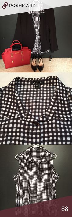🎉LIKE NEW! Gingham Top!! Classic Black & White Gingham Top!! • Sleeveless, Button up style! • Size: XL (16-18) • Front Pocket! • LIKE NEW; Only worn 2x for Work! • Pairs perfect with Blazer and Pencil Skirt for a CLASSY, CHIC outfit!! 🎉Purse & Shoes sold separately!! George Tops Button Down Shirts