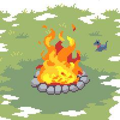 pixeljamgames: A nice big bonfire. A happy dog.