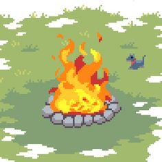 pixeljamgames: A nice big bonfire. A happy dog.
