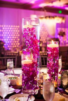Fuchsia & Purple Wedding Submerged Orchids www.significanteventsoftexas.com