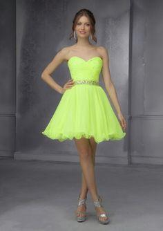 Wishesbridal Green Chiffon A Line Homecoming Dress