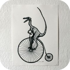 VELOciraptor Dinosaur - Limited Edition One Color Screen Print - Artwork by Karl Addison $35