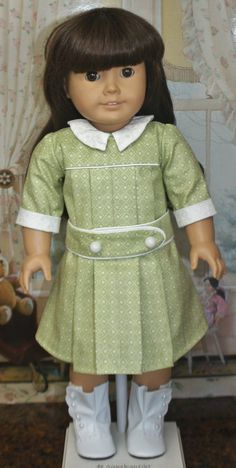 American Girl Style Belted Drop Waist Dress in Spring Green Edwardian Style, Edwardian Fashion, Doll Patterns, Clothing Patterns, Blueberry Compote, American Girl Crafts, Long Winter Coats, Ag Doll Clothes, Doll Dresses