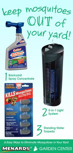 Keep mosquitoes out of your yard! Read full article: http://www.menards.com/main/c-14326.htm?utm_source=pinterest&utm_medium=social&utm_content=mosquitoes&utm_campaign=gardencenter