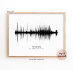 Sound Wave Art, Frank Sinatra - I ve Got You Under My Skin, Soundwave print, Printables files, Large Poster, Frank Sinatra, Music Artwork Under My Skin, Music Artwork, Wave Art, Gallery Walls, Sound Waves, Hair Accessories, Printables, Unique Jewelry
