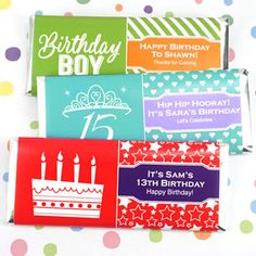 Personalized Kids Birthday Hershey's Bar Wrappers-Add a personal touch to your chocolate favors! Our Personalized Birthday Hershey's Chocolate Bar Wrappers are a simple, yet special addition to any birthday celebration and are easy to coordina Wedding Party Favors, Birthday Party Favors, Birthday Celebration, Chocolate Bar Wrappers, Chocolate Favors, Hershey Bar, Personalized Candy, Candy Wrappers, Get The Party Started