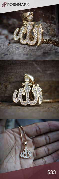 Mens Gold Iced Out Allah Sign Necklace This Allah pendant is Iced out with white lab diamonds.  Chain is 14k gold plated over 316 stainless steel.  Pendant size is 17mm in length (small)  Comes 1.5 mm width 18,20,22,24,26 or 30 inch length 14k gold plated 316 stainless steel box chain included. Ts Verniel Accessories Jewelry
