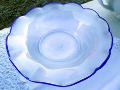 Vintage Deko - Eisch Glas Schale Perlmutt irisierend mit Ätzmarke - ein Designerstück von Sophie-Dumont bei DaWanda