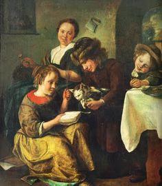 "Children Teaching the Cat to Read, Jan Steen, 1663, oil on panel, 18"" x 14"", held by Kunstmuseum, Basel, Switzerland."