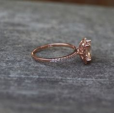 Cushion peach champagne sapphire in 14k rose gold by EidelPrecious