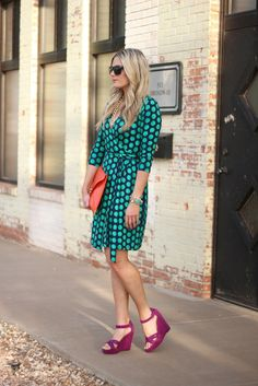 Polka dots and bright fuchsia wedges