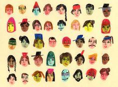 """MARÍA LUQUE (Argentina) / """"Que geniales son mis amigos"""" (2013) / lápiz color y marcadores s/ papel / http://cargocollective.com/marialuque"""