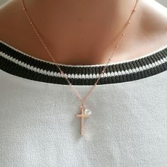 Rose gold cross necklace with cubic zirconia