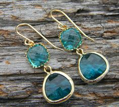 Sea glass green and gold earrings