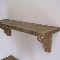 Wooden Shelf Design, Rustic Wooden Shelves, Wooden Wall Shelves, Fireplace Mantle Shelf, Wood Mantle, Home Fireplace, Wood Pallet Bar, Shabby Chic Wall Decor, Reno