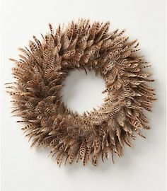 Feather wreath...  hmm, could do this w/ pheasant feathers.