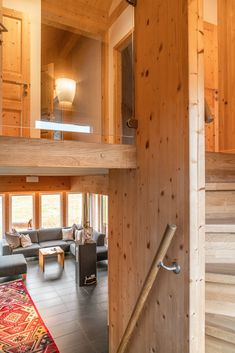 View from the staircase Alpine Chalet, Chalet Interior, Modern, Trendy Tree