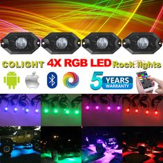 Different RGB light effect & strobe available(by Bluetooth APP),make your vehicle eye-catching in dark. LED Rock Lights (RGB),Extension cables attached on LED rock lights. DIY light effect and music mode set by Bluetooth APP only. Jeep Light Bar, Jeep Lights, Light Effect, Strobing, Bar Lighting, Bluetooth, App, Make It Yourself, Rock