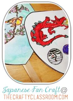 Japanese Fan Craft for Kids.  Includes printable templates for children to watercolor
