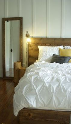 Board and Batton Master Bedroom with Bannack Brown Ghostwood Bed and Floor Mirror