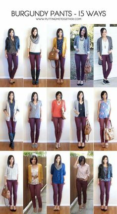 More outfit ideas for my maroon pants. Putting Me Together: 15 Ways to Wear Burgundy or Maroon Pants Maroon Pants Outfit, Maroon Jeans, Olive Pants Outfit, Colored Jeans Outfits, Burgandy Skinny Jeans Outfit, Colored Denim, Outfits With Olive Pants, Brown Pants Outfit For Work, Green Jeans Outfit