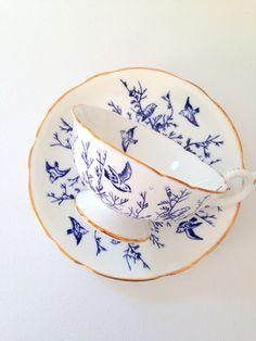 Vintage Coalport English Bone China Teacup and Saucer Tea Party Cottage Style Tableware