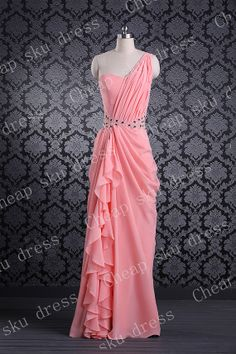 A-line One-shoulder Cheap Appliques Beads Sequins Zipper Long Bridesmaid Dress Party Dress Evening Dress Prom Dress Formal Dress 2014