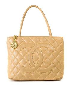Medallion Quilted Tote Bag in Beige by Chanel on secretsales.com