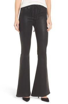 Hudson Bullocks High Waist Lace-up Flare Jeans In Black Coated Denim Coat, Hudson Jeans, Mode Style, Jeans Style, Flare Jeans, Bell Bottom Jeans, Lace Up, Skinny Jeans, Clothes