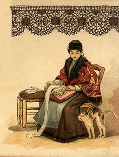 The Lacemaker and the cat