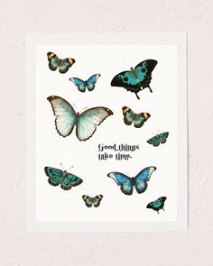 Good things take time. Comes in two sizes: and in. With every purchase, we donate of profits to Mental Health America. Wall Collage Decor, Bedroom Wall Collage, Photo Wall Collage, Picture Wall, Wall Decor, College Wall Art, Butterfly Artwork, Good Things Take Time, Plant Art