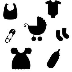 Baby Items Stencil 6x6 (Baby Shower, Room Decor, Shirts Airbrushing)