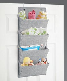 mDesign Soft Fabric Wall Mount/Over Door Hanging Storage Organizer - 4 Large Pockets for Child/Kids Room or Nursery, Hooks Included - Textured Print - Gray Playroom Storage, Fabric Storage Bins, Home Office Storage, Nursery Storage, Hanging Storage, Bedroom Storage, Storage Baskets, Storage Organization, Nursery Décor