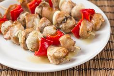 This is one of our familys favorite recipes.  It can be used with chicken or pork.  The marinade is a must-the longer the better!  We prefer it with red, orange, or yellow bell peppers, but the original recipe calls for green bell peppers.  The sauce is especially tasty too!  Its similar to a sweet and sour sauce.