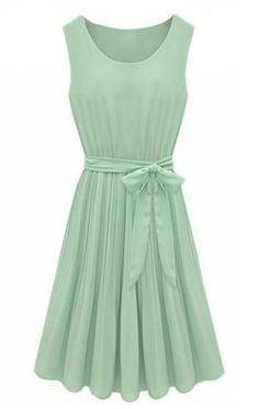 Mint Green Sleeveless Pleated Belt Chiffon Dress - Sheinside.com