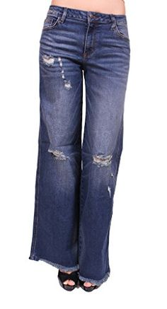 e6512dafe8 Cello Jeans Women Frayed Distressed Wide Leg Trouser Jeans in Clothing