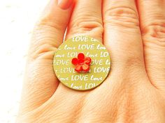 Flower and Love Ring RED by SouZouCreations on Etsy, $10.00