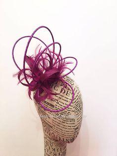Purple fascinator wedding party racing hats