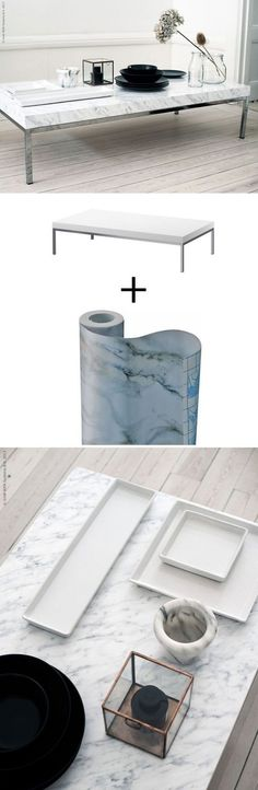 Tips to make your Ikea furniture look expensive ....  marble contact paper on your coffee table