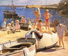 Laura Knight (British painter) 1877 - 1970 Boys (aka The Boys Newlyn Cornwall), 1910 oil on canvas x cm. Johannesburg Art Gallery, Knight Art, English Artists, British Artists, Beautiful Islands, Artist At Work, Seaside, Swimming, West Cornwall